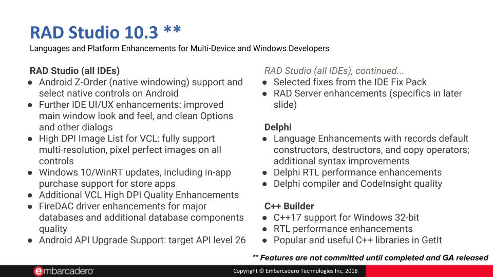 Public Information on Upcoming RAD Studio 10 3 – Updated